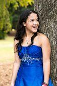 foto of quinceanera  - Teen girl wearing her formal Quinceanera dress - JPG