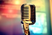 stock photo of microphone  - Retro Microphone On Stage - JPG