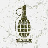 stock photo of grenades  - Hand grenade retro print - JPG
