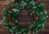 image of christmas wreath  - Christmas conifer wreath with firtree cones - JPG