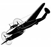 image of fighter plane  - Vector silhouette of the old fighter plane - JPG