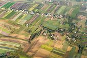 image of farm land  - aerial of polish farm land in morning light near Krakow