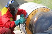 foto of pipe-welding  - Welder at work - JPG