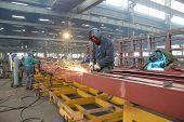 stock photo of welding  - Steel workers welding  - JPG