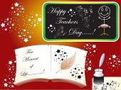pic of inkpot  - abstract teachers day based vector objects black board with grunge effects book and inkpot - JPG