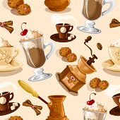 pic of frappe  - Coffee colored seamless pattern with turk cookies cinnamon grinder cup vector illustration - JPG