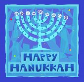 stock photo of hanukkah  - Happy Hanukkah greeting card of a stylized menorah - JPG