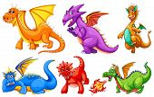 pic of fire-breathing  - Dragons set on a white background - JPG