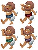 picture of caveman  - Caveman set on a white background - JPG
