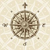 picture of wind-rose  - Vintage compass rose - JPG