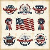 stock photo of patriot  - Vintage American labels set - JPG