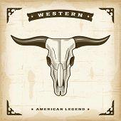 foto of cow head  - Vintage Western Bull Skull - JPG