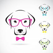 picture of seeing eye dog  - Vector images of dog labrador wearing glasses on white background - JPG