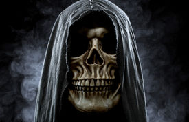 picture of cranium  - Portrait of a skull in the hood over black foggy background - JPG