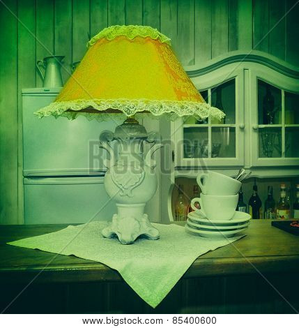 Reading Lamps, Ceramics, Photo In Old Image Style.