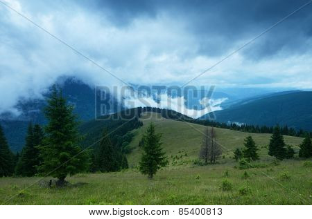 Summer landscape. Bad weather in the mountains