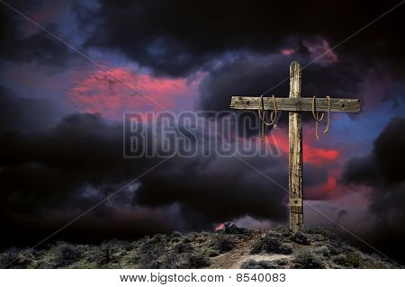Empty Cross Against an Angry Sky