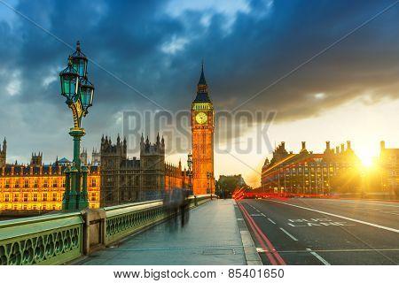 Big Ben at sunset in London, UK