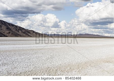 Drought stricken dry lake bed in California's Mojave Desert National Preserve.