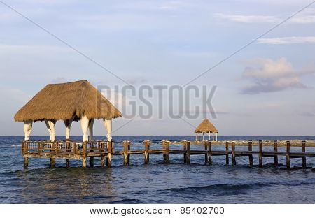 wooden house at the caribbean sea, yucatan, mexico