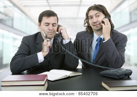 business team working at a desk, at the office
