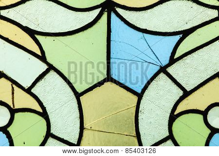 Stained Glass Window With Irregular Block Pattern