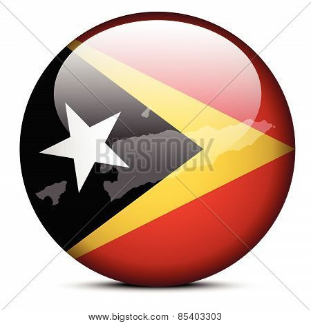 Map On Flag Button Of Democratic Republic  Timor-leste