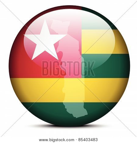 Map On Flag Button Of Togolese Republic