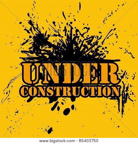 Under construction design over  yellow background vector illustr
