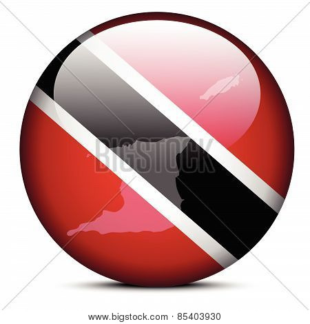 Map On Flag Button Of Republic  Trinidad And Tobago