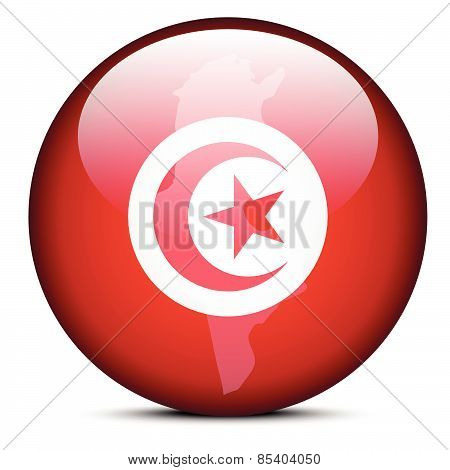 Map On Flag Button Of Tunisian Republic