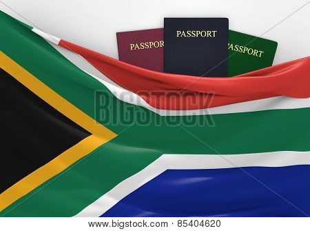 Travel and tourism in South Africa, with assorted passports