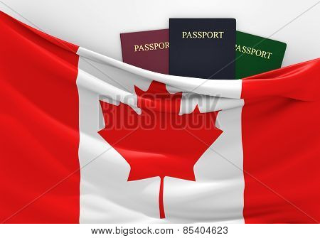 Travel and tourism in Canada, with assorted passports