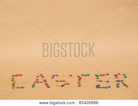 word easter on kraft background