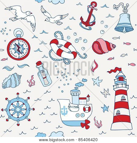 Nautical Sea Seamless Pattern - for scrapbook and design in vector