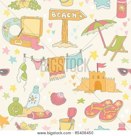 Seaside and Summer Background - Seamless Pattern - in vector