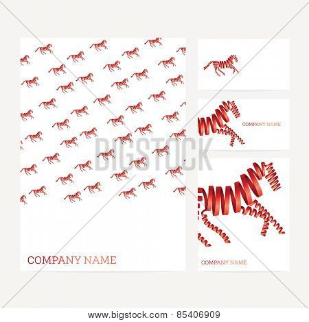 Set of business card and invitation card templates with red horse