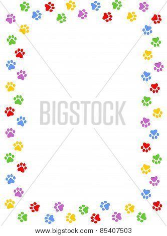 Colorful Paw Prints Frame