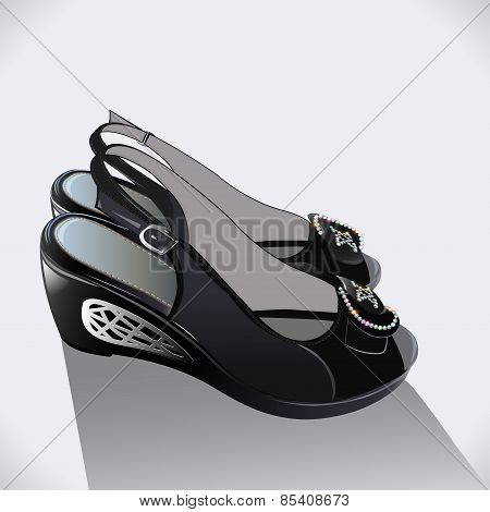 Illustration Shoes Black Patent Leather On A White Background