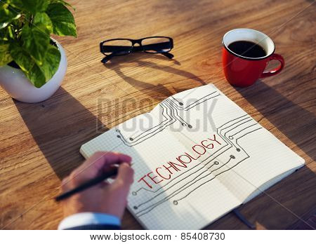 Businessman Technology Innovation Office Working Concept