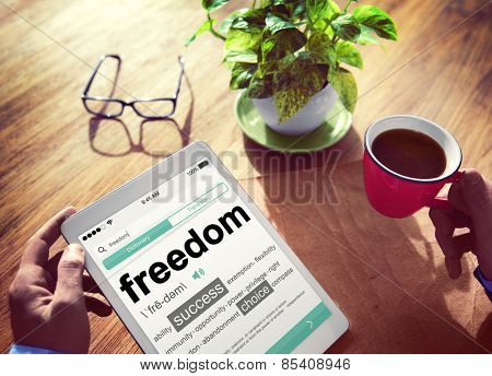 Man Reading the Definition of Freedom Concept