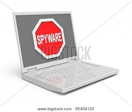 Spyware warning sign on laptop screen. Computer generated 3D photo rendering.