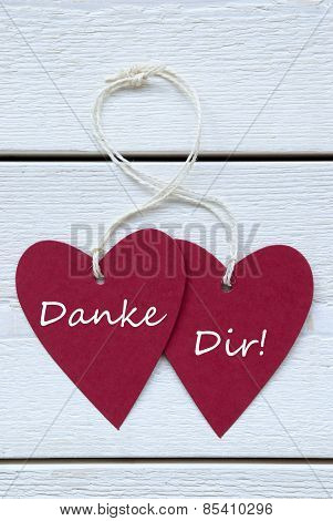 Two Hearts Label German Text Danke Dir Means Thank You Vertical