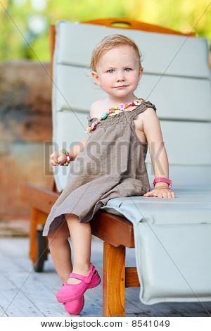 Vertical Full Body Portrait Of Adorable Toddler Girl
