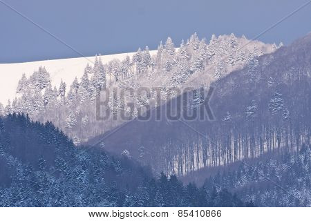 landscape of snowy mountains, Vosges, France