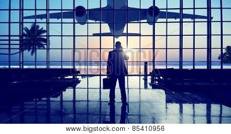 Businessman Airport Travel Waiting Trip Terminal Concept