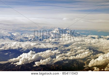 View of Alaska's Mt. McKinley from a plane.
