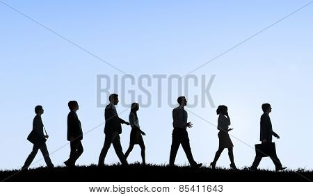 Business People Commuter Walking Outdoors Hill Travel Concept