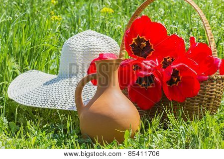 Tulips In The Basket, Hat And Clay Jug