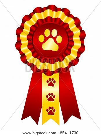 Dog Award Ribbon Red And Gold
